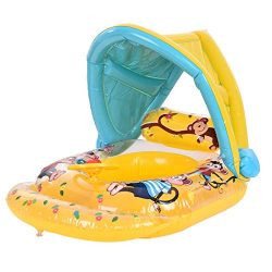 ☀ Dergo ☀ Swim Ring Swimming Ring Inflatable Baby Float Sunshade Swimming Boat Seat With Sun Canopy