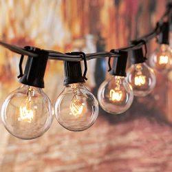 100FT Globe Outdoor String Lights with 100 Clear G40 Bulbs, UL Listed Backyard Patio Lights, War ...