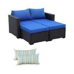 3-Piece Patio PE Rattan Conversation Furniture Set Outdoor PE Wicker Sectional Loveseat and Otto ...
