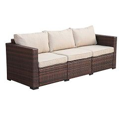 3-Seat Patio Wicker Sofa – Outdoor Rattan Couch Furniture w/Steel Frame and Creamy White C ...