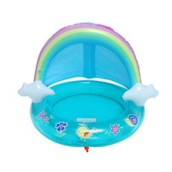 ☀ Dergo ☀ Swim Ring Baby Pool, Rainbow Pool With Canopy, Spray Pool Of 40In, Water Sprinkler Out ...