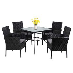 Walsunny 5-Piece Indoor Outdoor Wicker Dining Set Furniture,Square Tempered Glass Top Table with ...