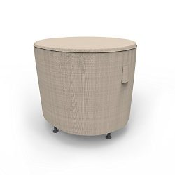 Budge P5A31PM1 English Garden Round Patio Table Cover Heavy Duty and Waterproof, Small, Two-Tone Tan