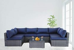 Patio Furniture Garden Grey PE Rattan Sofa 7pcs Navy Blue Cushion Outdoor Couch Outside Conversa ...