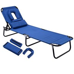 Gymax Beach Chair, Sunbathing Chair Patio Lounge Chair Folding Adjustable Recliner with Hole for ...