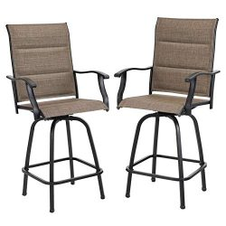PHI VILLA Swivel Bar Stools Outdoor Kitchen Bar Height Patio Chairs Padded Sling Fabric, All-Wea ...