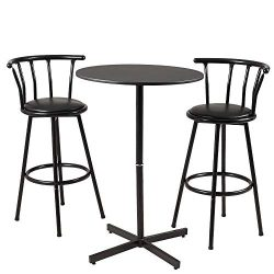 """AMERLIFE Bar Table Set 3 Piece with 2 Crown Back 29"""" Height Bar Stools Bistro Pub Swivel T ..."""