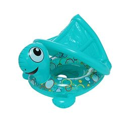 ☀ Dergo ☀ Swim Ring Inflatable Baby Swimming Ring, Beach Turtle Boat Swim Ring With Sun Shade Ca ...