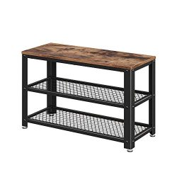 VASAGLE Industrial Shoe Bench, 3-Tier Shoe Rack, Storage Organizer with Seat, Industrial, Wood L ...