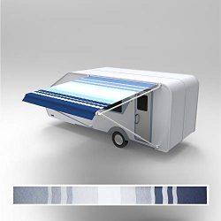 ALEKO RVAW15X8BLSTR32 Retractable RV/Patio Awning 15 x 8 Feet Blue and White Striped