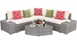 Do4U 6 PCs Outdoor Patio PE Rattan Wicker Sofa Sectional Furniture Set Conversation Set- Thick S ...