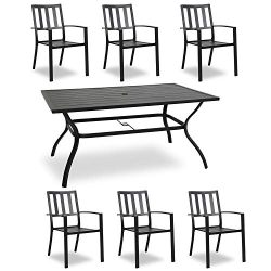 Ulaxfurniture Outdoor Patio Rectangular Slatted Dining Set