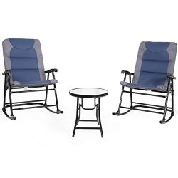 Giantex 3 PCS Folding Bistro Set Outdoor Patio Rocking Chairs Round Table Set 2 Rocking Chairs w ...