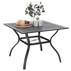 Outdoor Dining Table Patio Square Metal Table with Umbrella Hole for Garden Lawn 37″x 37&# ...