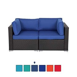 Kinsunny Wicker Loveseats Patio Sectional Corner Sofa All Weather Rattan Outdoor Thick Sofa Set