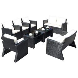 Tangkula Patio Furniture Set 8 Piece, Outdoor Wicker Conversation Set for Courtyard Balcony Gard ...