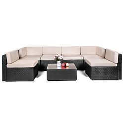 AECOJOY 7 Piece Outdoor Patio PE Rattan Wicker Sofa Cushioned Sectional Furniture Set (7 Pieces, ...