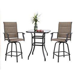 PHIVILLA Outdoor Swivel Bar Stool Set of 3, 2 Padded Textilene Patio Bar Chair with 1 Bar Table  ...