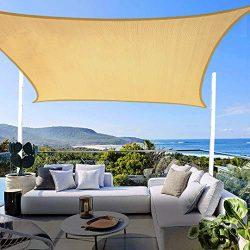 8′ x 12′ Sun Shade Sail UV Block,Sun Shades for Patios Rectangle Shade Sail Canopy A ...