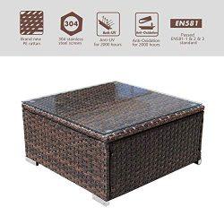 DIMAR garden Outdoor Coffee Table Wicker Patio Furniture Conversation Set Lawn Garden Tea Table  ...