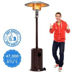 Dkeli Outdoor Patio Heater with Wheels Portable 47,000 BTU Commercial LP Gas Propane Heater Auto ...