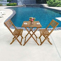 3-Piece Acacia Wood Folding Patio Bistro Set Outdoor Bistro Set Table and Chairs Set with 2 Chai ...