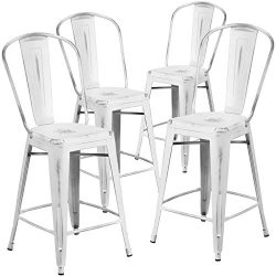 "Flash Furniture 4 Pk. 24"" High Distressed White Metal Indoor-Outdoor Counter Height Stool  ..."