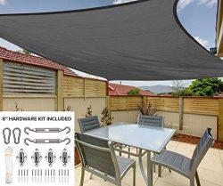12'x16′ Rectangle Sun Shade Sail Canopy in Stone Grey – Durable Outdoor Patio  ...