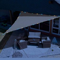 Sunnykud 12'x12'x12′ Triangle Sun Shade Sail with Waterproof String Lights Sol ...