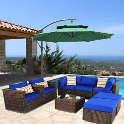 Patio Sofa Sectional Outdoor Couch Set 8-Piece Garden Seating Brown Rattan Royal Blue Cushion Po ...