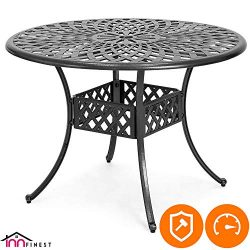 42″ Patio Bistro Dining Table – Cast Aluminum Umbrella Hole Table – Rust Resistant L ...