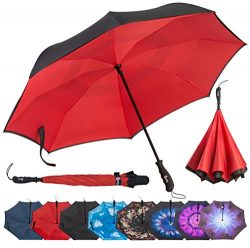 Repel Reverse Folding Inverted Umbrella with 2 Layered Teflon Canopy and Reinforced Fiberglass R ...