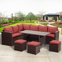Wisteria Lane Patio Furniture Set,7 PCS Outdoor Conversation Set All Weather Wicker Sectional So ...
