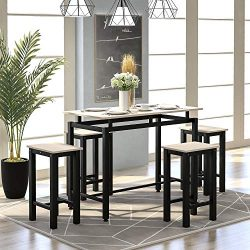 Dining Table Set, Hinpia 5 Piece Practical Dining Room Table Set with 4 Chairs, Counter and Pub  ...