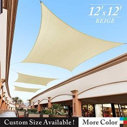 Royal Shade 12′ x 12′ Beige Square Sun Shade Sail Canopy Outdoor Patio Fabric Shelte ...
