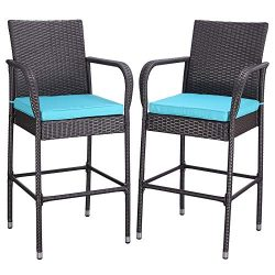 Do4U Set of 2 Patio Bar Stools All-Weather Wicker Outdoor Furniture Chair, Bar Chairs with Turqu ...
