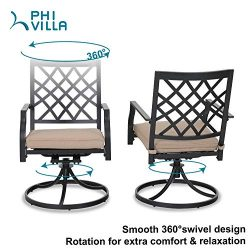 Outdoor Metal Swivel Chairs Set of 2 Patio Dining Rocker Chair with Cushion Furniture Set Suppor ...