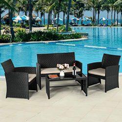 AECOJOY 4-Piece Wicker Outdoor Patio Furniture Sets Rattan Patio Conversation Furniture Sets Wic ...