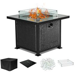 PIEDLE Outdoor Propane Gas Fire Pit Table,32-inch 50,000 BTU Patio Fire Table, Black Tempered Ta ...