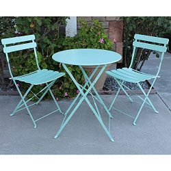 OC Orange-Casual Premium Steel Patio Bistro Set, Folding Outdoor Furniture Sets, 3 Piece Set of  ...
