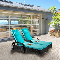 Kinsuite 2 Piece Poolside Lounge Chairs with Wheels Rattan Wicker Chaise Reclining Adjustable Ou ...
