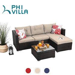 PHI VILLA Outdoor Sectional Rattan Sofa – Wicker Patio Furniture Set (Beige)