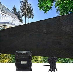 EVERGROW 4′ x 50′ Black Fence Privacy Screen Windscreen Cover Outdoor Patio Fabric S ...