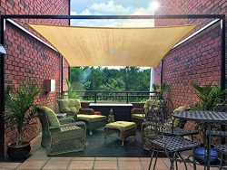 FLY HAWK Sun Shade Sail Rectangle 10′ x 10′, Patio Sunshade Cover Canopy – Dur ...
