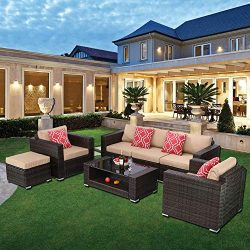 HTTH 7 Pieces Outdoor Patio Rattan Sofa Wicker Sets with Washable Cushions Conversation Garden F ...