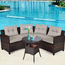 Tangkula 4-Piece Patio Furniture Set, C-Shape Outdoor Wicker Sectional Sofa Set, w/Cushions & ...