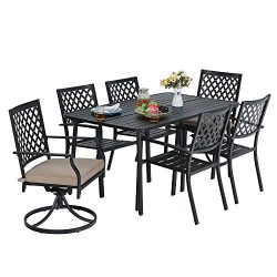 MF Outdoor Patio Dining Set 7 Pieces, 1 x Rectangular Table, 4 Backyard Garden Striped Chairs, 2 ...