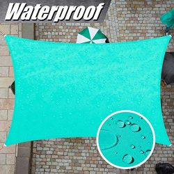 ColourTree 7′ x 12′ Turquoise Rectangle Waterproof Sun Shade Sail Canopy Awning Shel ...