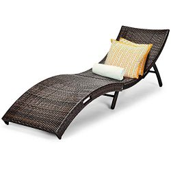 Tangkula Patio Rattan Chaise Lounge, Outdoor Wicker Lounge Chair, Foldable Chaise Lounge, Suitab ...