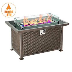 U-MAX 44in Outdoor Propane Gas Fire Pit Table, 50,000 BTU Auto-Ignition Gas Firepit with Glass W ...